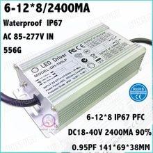 2 sztuk wysokiej PFC IP67 100 W AC85-277V sterownik LED 6-12Cx8B 2400mA DC18-40V LED ze stałym prądem moc dla reflektory darmowa wysyłka