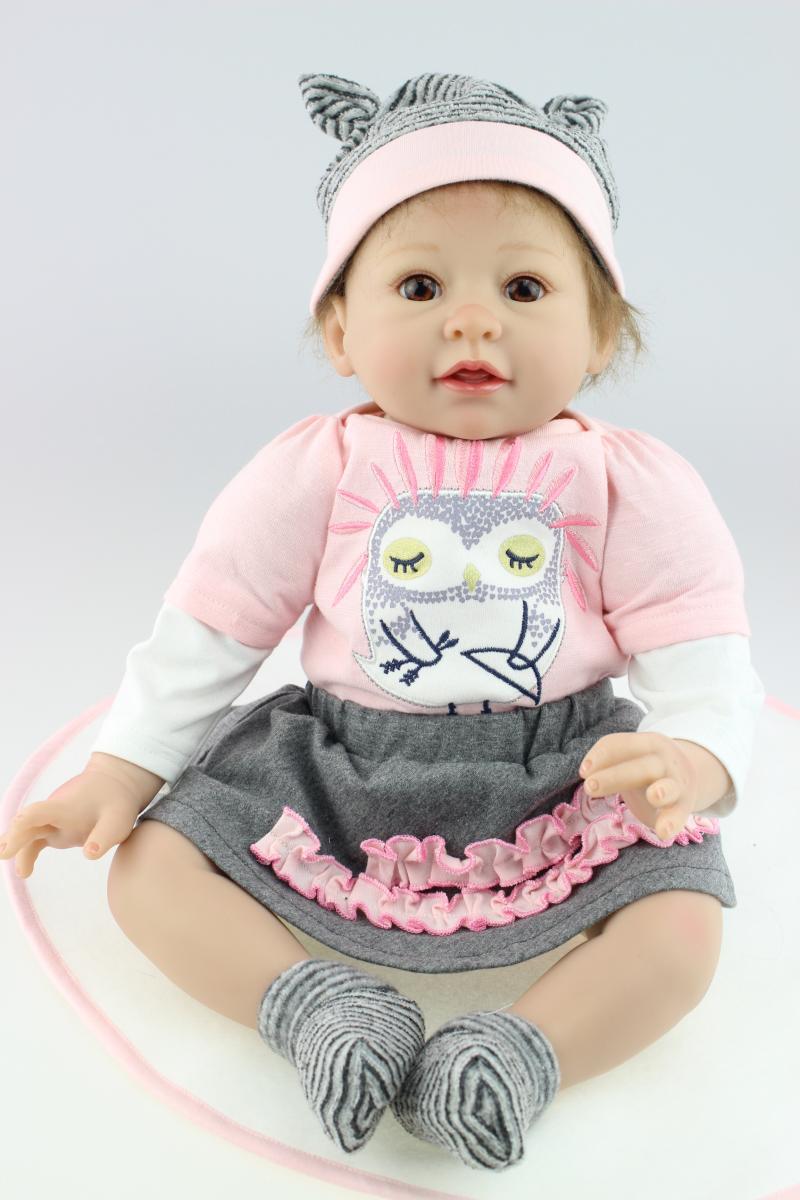 Oyuncaklar ve Hobi Ürünleri'ten Bebekler'de Nicery 20 22 inç 50 55 cm Bebe Reborn Bebek Yumuşak Silikon Erkek Kız Oyuncak Yeniden Doğmuş Bebek Bebek çocuklar için hediye Pembe Baykuş Açık Bebek Bebek'da  Grup 1