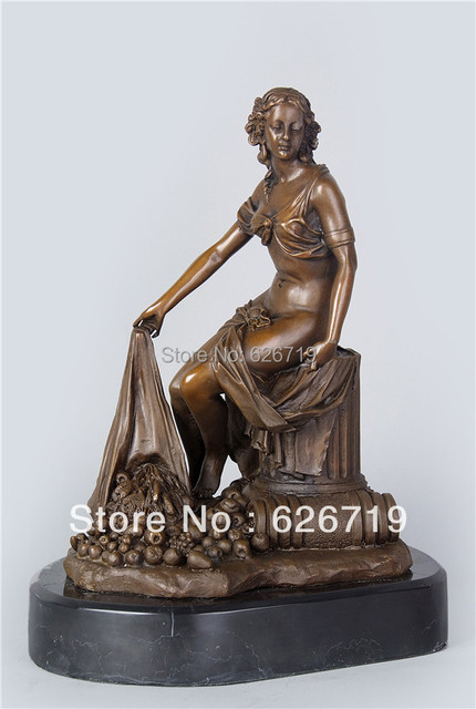 ATLIE BRONZES Sculpture Female Semi Nude Sitting Statue With Fruits Garden  Statues Figurine En Bronze