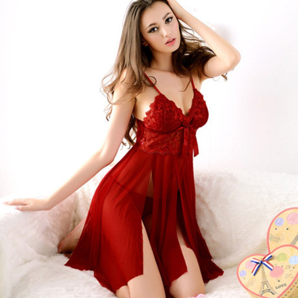 Red Color Sexy Lace Lingerie Nightwear Dress Ladies Night Party Valentine's Day Sexy Erotic Night Dress Underwear   Sleepshirt