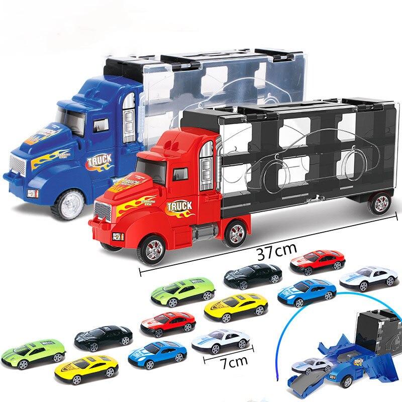 Novo transporte caminhão portador de carro meninos brinquedo recipiente de armazenamento caminhão conjunto de veículos de plástico volta diecast carro de brinquedo de liga para crianças