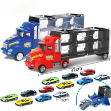 New Transport Car Carrier Truck Boys Toy Storage Container Truck Set Plastic Vehicles  Back Diecast Car Alloy Toy Car For Kids 1 24 scale storage container truck plastic vehicles toys with diecast mini car hot alloy auto wheels magic tracks cars for kids