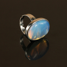 1pc Generous Opal Crystal Moonstone Quartz Gem Stone Oval Finger Ring for Women Charm Ring Jewelry