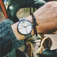 Mode Gold Silber Schwarz Komplett Aus Edelstahl Web Band Quarz Armbanduhren Armbanduhr für Männer Männlichen Frauen OP001