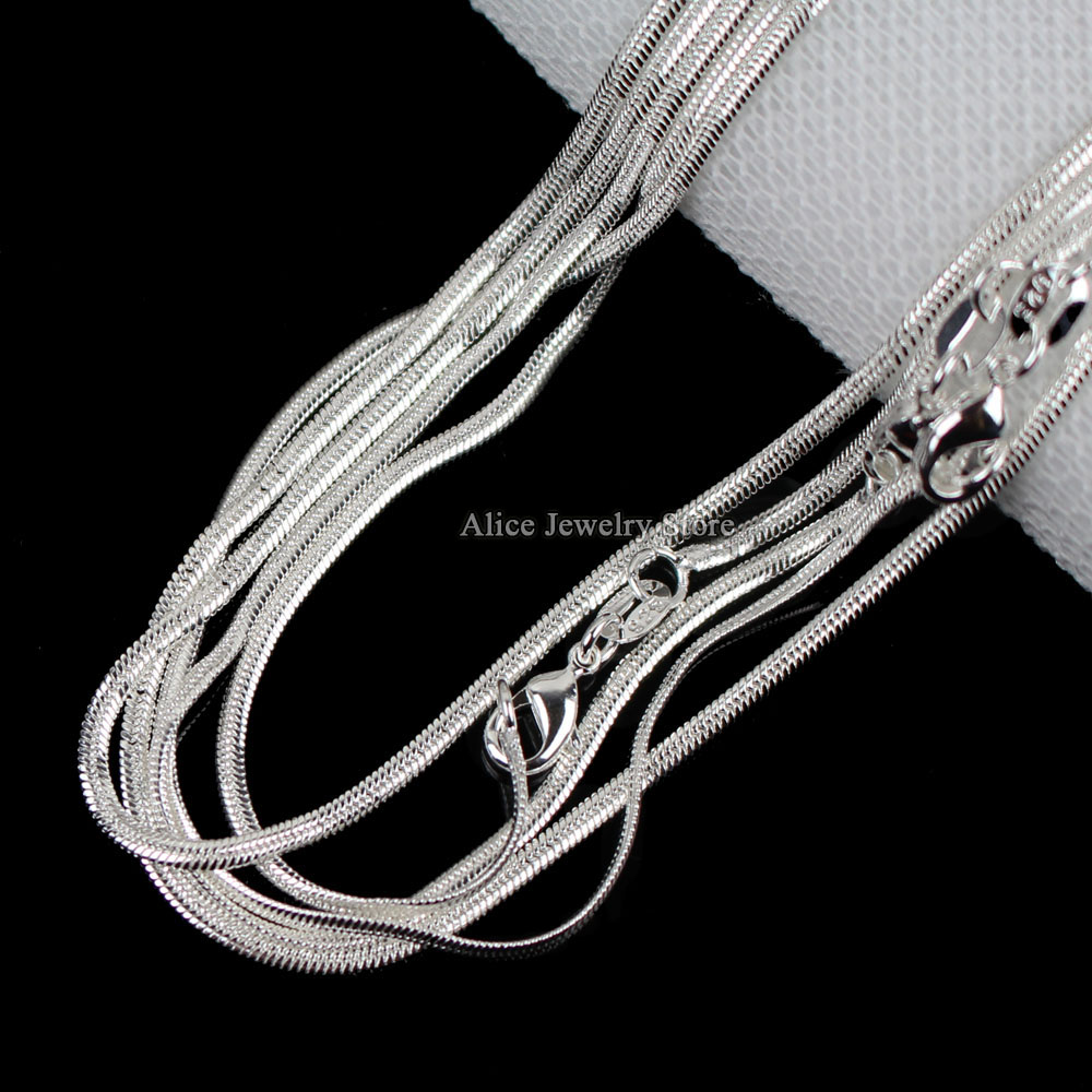 "10pcs/lot Wholesale Silver Necklaces Chain,2mm 925 Jewelry Silver Plated Flat Snake Chain Necklaces 16""-30"",pick length!"