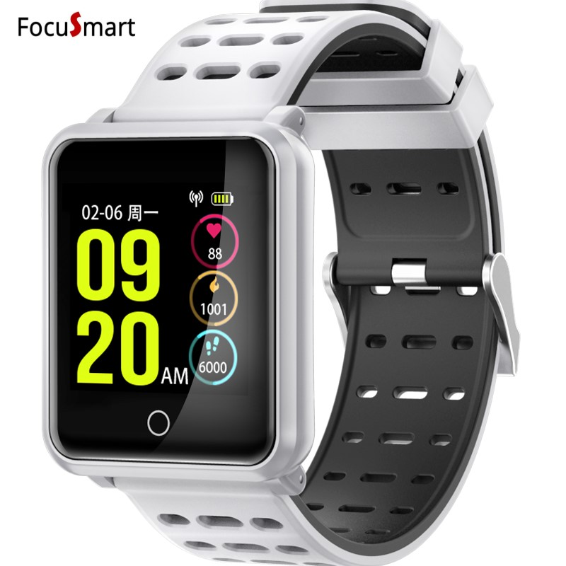 FocuSmart New Bluetooth 4.2 Smart Watch IP68 Waterproof Heart Rate Blood Pressure Monitor Smartwatch Bracelet For Iphone Xiaomi