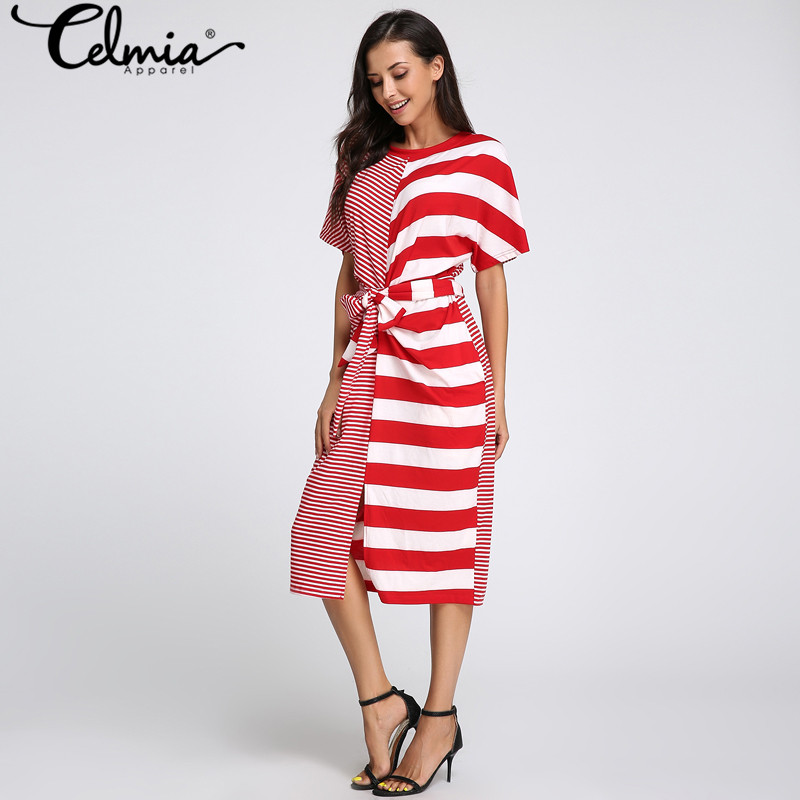 Plus Size S-5XL Celmia 2018 Summer Dress Women Striped Patchwork Pockets O Neck Fitness Split Boho Dresses Casual Beach Vestido