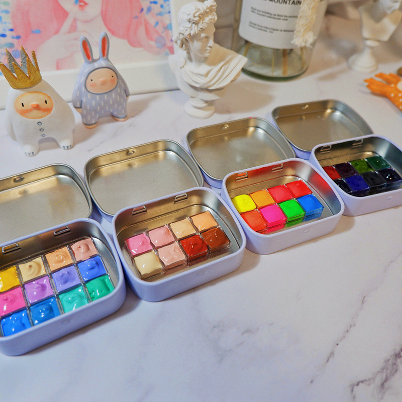 Rubens 12 Special color collection Precipitated macaron Glitter Watercolor Paint  Artist Paints Portable Metal Case