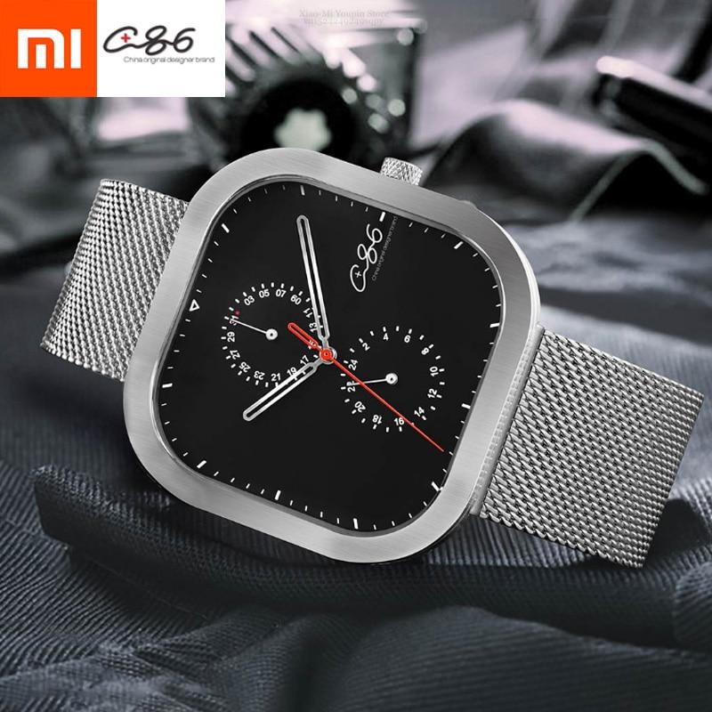 Xiaomi Mijia Youpin Quartz Wristwatch Men Waterproof Watch Imported Movement Double Disc Design Stainless Steel Strap