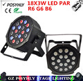 18X3W led par R6 G6 B6 Flat par dmx512 control AC90-240V disco light professional stage dj equipment