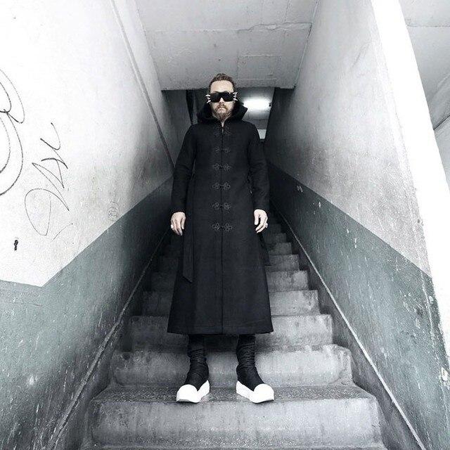 2016 novos homens de inverno homens do revestimento de trincheira da moda gothic rock com capuz blusão de lã longo casaco trench masculino traje do estágio N3