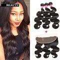 Fashion plus frontal e pacotes de cabelo total 4 pcs malaio corpo onda Frontal Com Feixes 13X4 Orelha a Orelha Fechamento Com feixes