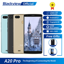 Blackview A20 פרו 5.5 אינץ 18:9 מלא מסך 2GB RAM 16GB ROM MT6739WAL Quad Core אנדרואיד 8.1 טביעת אצבע dual SIM 4G Smartphone