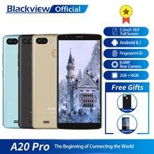 Blackview A20 Pro 5,5 дюйма 18:9 полный Экран 2 ГБ Оперативная память 16 ГБ Встроенная память MT6739WAL 4 ядра Android 8,1 отпечатков пальцев двойной SIM 4 г смартфон