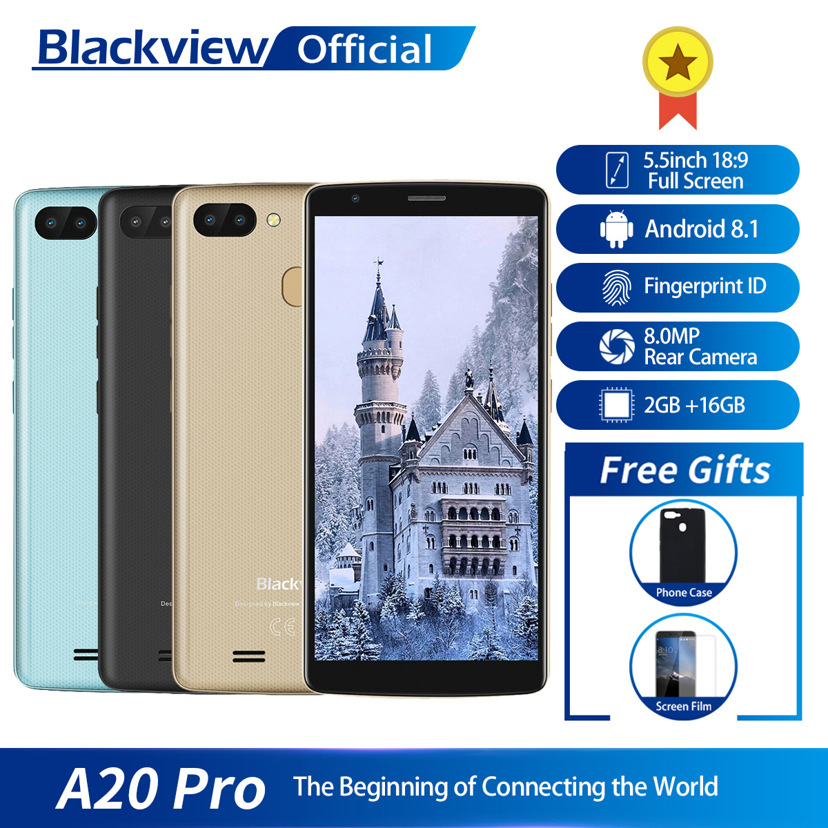 Blackview A20 Pro 5.5inch 18:9 Full Screen 2GB RAM 16GB ROM MT6739WAL Quad Core Android 8.1 Fingerprint Dual SIM 4G Smartphone