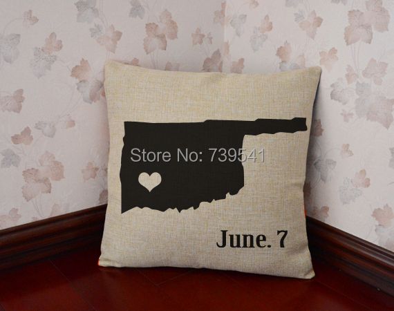 Free shipping Personalized state throw pillow custom map pillowcase linen home decor unique gift idea 18*18 inches wholesale