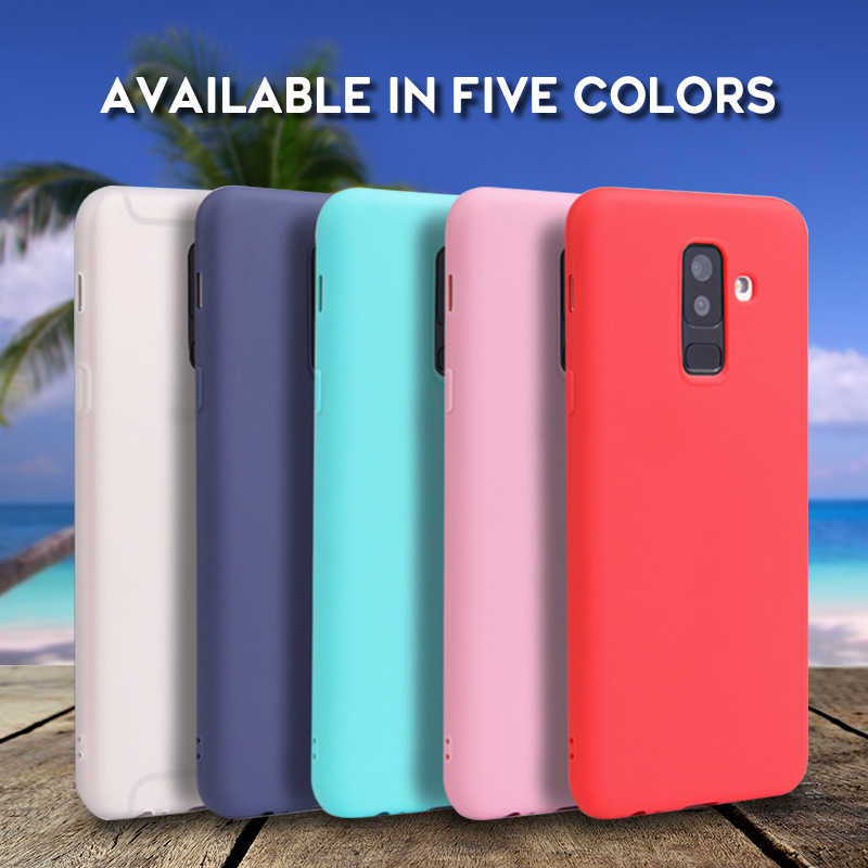Colorful Matte Silicone Phone Case For Samsung Galaxy A7 2018 J6 J4 A8 A6 S8 S9 Plus J7 2018 S7 Edge Case Back Cover Soft Coque