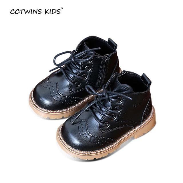 CCTWINS NIÑOS de los bebés del otoño oxford zapatos para niños botas de vestir chicas de moda martin botas niño botas de cuero de la pu negro