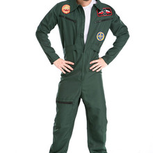 Men's Pilot Male Aviator Wingman Flight Suit Adult Costume Halloween Party Cosplay