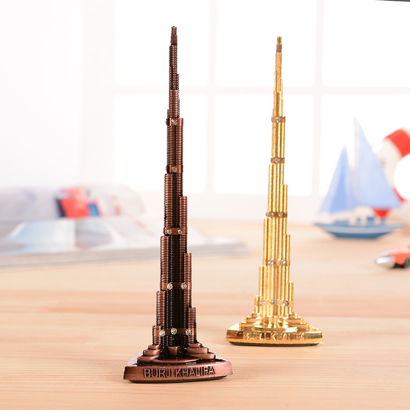 mundo modelo de bronce palabra torre burj khalifa tower con diamante figurita miniaturas decoracin del