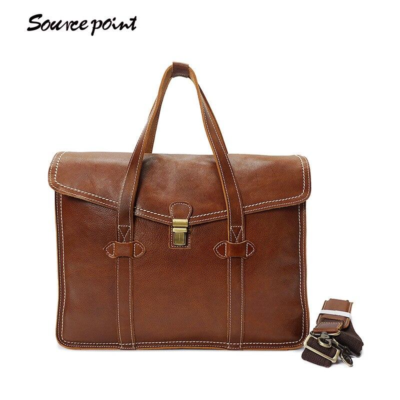 купить SOURCE PONINT New Vintage Genuine Leather Man Bags Cowhide Leather Man Handbags Male Fashion Shoulder Bag Messenger Bags YD-8072 по цене 6323.09 рублей