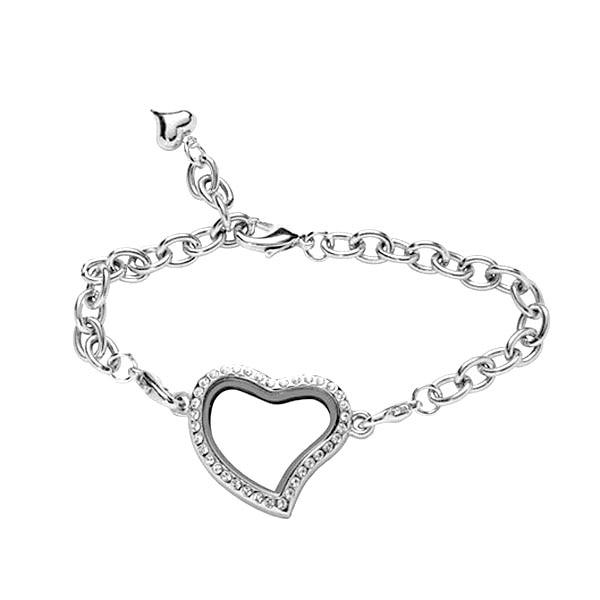 BG-151 Fashion 316L Stainless Steel Women Bracelet High Quality Shinning Crystal Setting Lovers Party Gift Bracelet Heart Charm