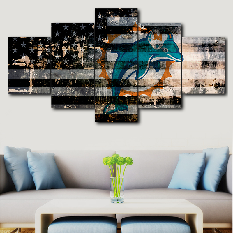 Canvas Miami Dolphins Print 5 Piece Painting Wall Art