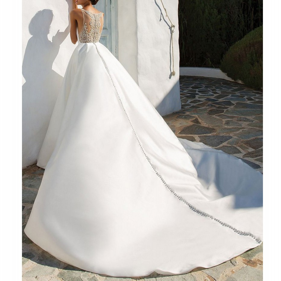 Beige Ivoire Casamento Gelinlik Perlée Mode Mariée Noiva Longue Robes Robe Dubaï De wPvqCFO