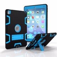 Para o iPad Da Apple Pro 9.7 Caso Híbrido Da Frente Para Trás 360 Capa de Proteção integral À Prova de Choque de Plástico Silicone 3 Camadas Construído em Kickstand