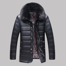 M-4XL!! Leather Motorcycle Jacket Men's Fashion Leisure Large Size Mens Leather Down Coat Brand Clothing  Men Winter Jacket