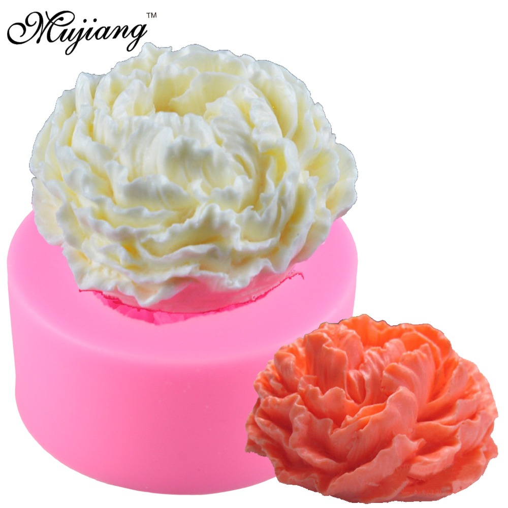 3D Peony Flower Silicone Candle Molds Resin Clay Soap Mold Gumpaste Chocolate Cake Baking Moulds Fondant Cake Decorating Tools