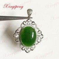 Argento 925 con 100% naturale Jasper ciondolo Spinaci è verde Semplice e facile Fine jewelry