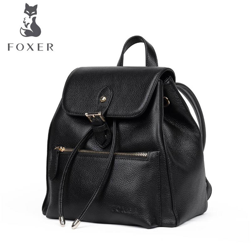 цены Women bag 2018 FOXER New brand leather women backpack fashion women leisure Superior cowhide women backpack