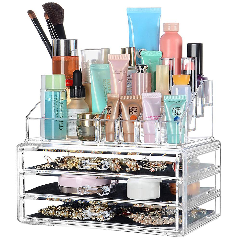2019 New Transparent Drawer Cosmetic Storage Box Household Desktop Jewelry Finishing Box Drawer Dressing Table Skin Care Rack