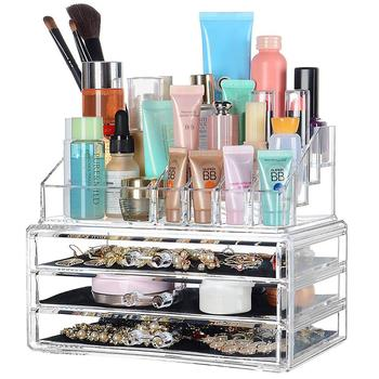 2019 New Transparent Drawer Cosmetic Storage Box Household Desktop Jewelry Finishing Box Drawer Dressing Table Skin Care Rack desktop multi color skin care products finishing box home dressing table cosmetics storage plastic flower carving