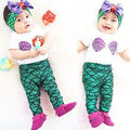 2016 Hot Selling 3pcs Lovely Baby Girl Clothes Shell T-shirt Tops+Mermaid Leggings Head Band Outfits
