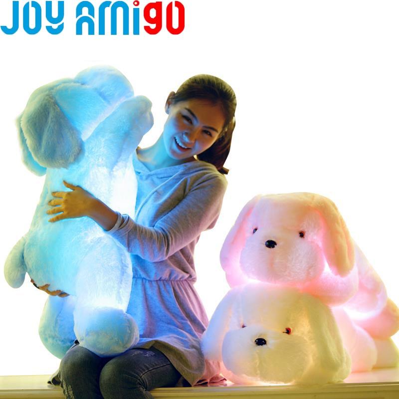 50cm / 20 collu garš gaismas gaismas pildījums LED gaisma plīša spīdums Teddy suns kucēns auto 7 krāsu rotācija izgaismota spilvena dāvana