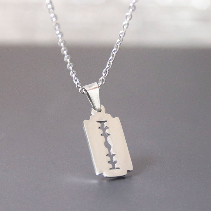 Everfast 1pc New Razor Blade Necklaces Stainless Steel Charms Locket Necklace Women Fashion Jewelry
