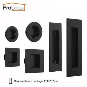 Probrico Black Door Cabinet Handles Flush Recessed Pulls Drawer Cupboard Wardrobe Hidden Siding Pull Embedded Furniture Handle(China)