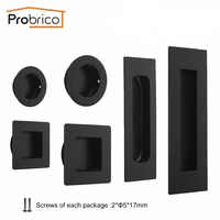 Probrico Black Door Cabinet Handles Flush Recessed Pulls Drawer Cupboard Wardrobe Hidden Siding Pull Embedded Furniture Handle