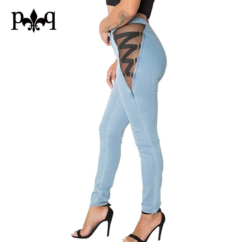 Hilove Women Jeans Sexy Lace Up Women Pants Sexy Mesh Patchwork Hollow Out Blue Denim Jean High Waist Pencil Pant Female beltratto cpg 120i
