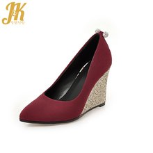 J&K 2017 Big Size 33-43 Brand Ladies Shoes Heels Woman Leisure Glitter Wedges Pumps Shoes Sexy Pointed toe High Heels Shoes