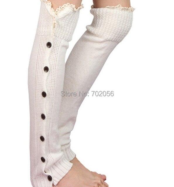 Encaje botón Calentadores para piernas Ballet danza de punto botín ...