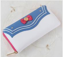 1 piece Sailor Moon Women Lady Short Wallets Purse Female Candy Color Bow Knot PU Leather for Coin Card Clutch Bag