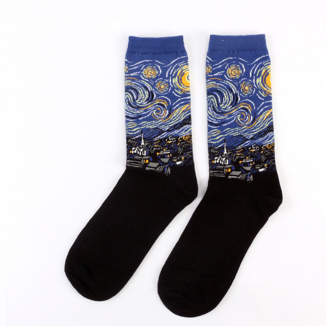 Winter Women Men Socks Art Van Gogh Happy Socks Starry Night Mural World Famous Painting Male Socks Oil Harajuku Wholesale