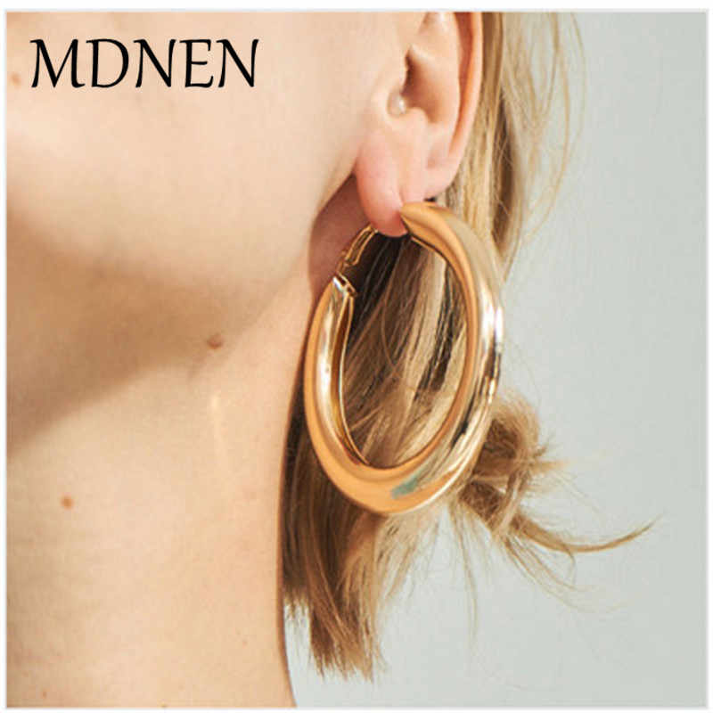 50mmBig Gold Hoops Earrings Thick Tube Round Circle Rings Earings For Women Zinc Alloy Trendy Hiphop Rock Jewelry Wholesale