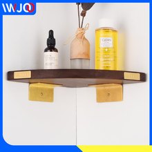 купить Bathroom Shelf Organizer Brass Wooden Corner Storage Holder Shelves Bathroom Accessories Shower Caddy Shampoo Cosmetic Rack дешево