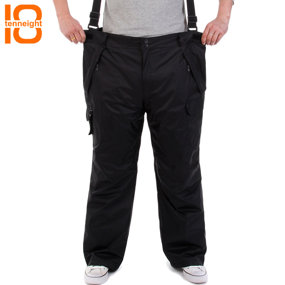 TENNEIGHT Winter Men's Ski Pants Softshell Thicken Warm Snowboard Pants Snow Trousers Hiking Camping Sport Pants Big Size