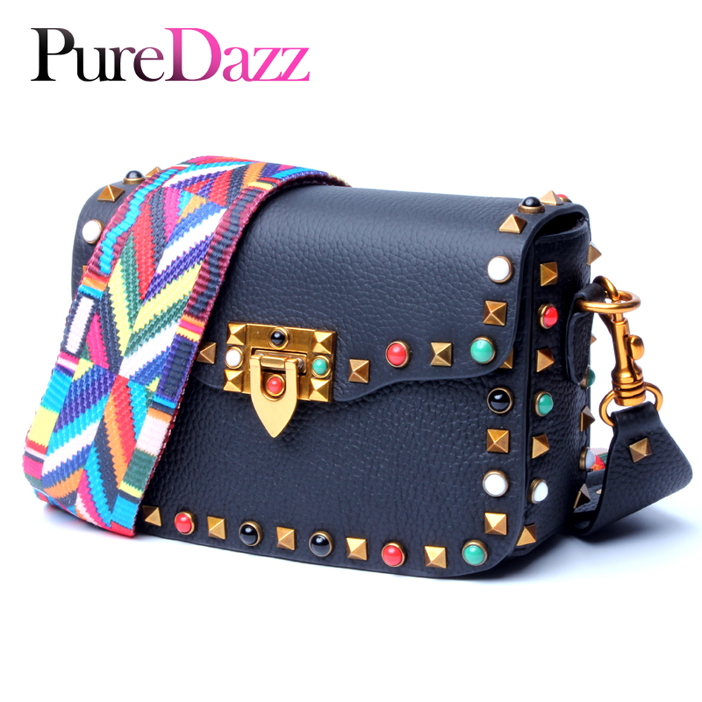 Genuine Leather Rivet Women Shoulder Bag Luxury Brand Female Flap Occident Multicolored Lady Crossbody Bag Genuine Leather Rivet Women Shoulder Bag Luxury Brand Female Flap Occident Multicolored Lady Crossbody Bag