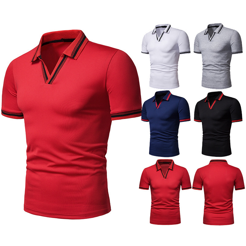 HuLooXuJi 2019 Summer Men Business Causal Fashion Plain Design   Polos   with V Neck Tops Tees   Polo   Shirts US Size:S-2XL
